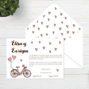 Invitaciones boda Sevilla | Invitación Bike | Catálogo Wedding & Design