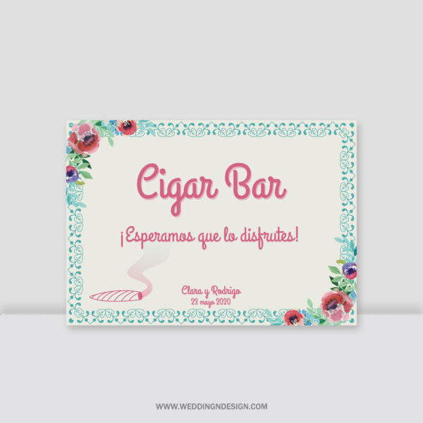 Carteles boda Sevilla | Cartel Cigar Bar Sweety | Catálogo Wedding & Design