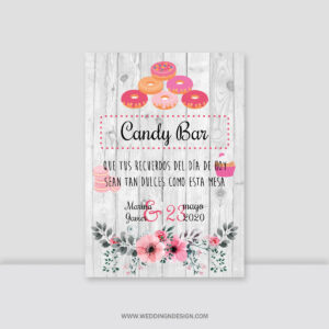 Carteles boda Sevilla | Cartel Candy Bar Primavera | Catálogo Wedding & Design