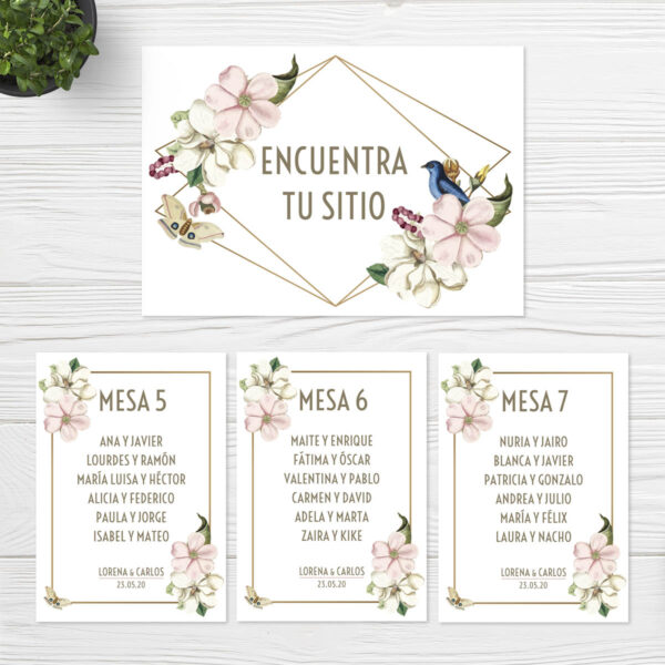 Seating plan boda Sevilla | Seating plan Gold | Catálogo Wedding & Design